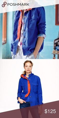 """J. Crew Blue + Orange Anorak Jacket This lightweight layer is one of those pieces you'll reach for day after day. Wear to your favorite sports game {Mets and Gators colors!} It has a tomboy-cool vibe and is finished with vintage inspired utility detailing. Camp pockets and metal buttons. A bright contrast placket makes it feel fresh and modern. Linen and cotton blend. Hooded. Functional buttons at cuffs. Flap pockets. Cut for a boxy fit. Length {28"""".} Sleeve length {32.5"""".} J. Crew Jackets…"""