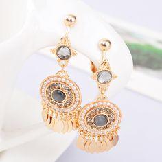 Fashion Bohemian Jewelry Vintage Style Drop Earring With Pearl&Opal Long Dangle Earrings $12.99