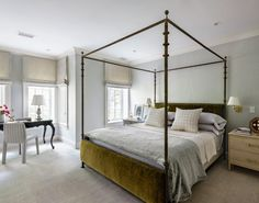 A wonderful project by - used the Diego bed by next to our Hand Stitched Roman Shades for perfect balance. Luxury Furniture, Traditional Home Magazine, Ironware, Bedroom Design, Bed Interior, Bed, Elegant Dining Room, Bedding Collections, House And Home Magazine