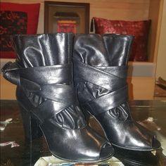 Cute Victoria's Secret heel booties! Brand new Victoria's Secret booties. Black leather. Open toe. Worn once. Victoria's Secret Shoes Heeled Boots