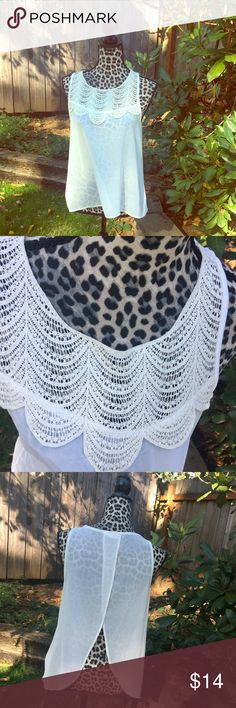 Sheer top Never worn. No flaws. White with off-white lace detail. 100% polyester Poetry Tops Tunics