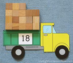Montessori Monday – Math Activities Using Cubes and Free Printables - Mathe Ideen 2020 Montessori Activities, Kindergarten Math, Preschool Activities, Japanese Poster Design, Transportation Theme, Construction Theme, Counting Activities, Pre School, Dump Truck
