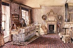 The two second floor bedrooms were private family rooms and so were not finished as sumptuously as those on the ground and first floors, though they still provided spacious accommodation with a high level of comfort. Typically, main bedrooms had panelled doors and matching panelling underneath the windows, together with relatively plain cornices and skirting boards. The rooms would usually be wallpapere.