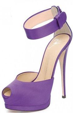 Giuseppe Zanotti periwinkle purple ankle strap peep toe hidden platform heels pumps