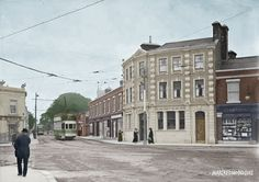 Crossroad at Terenure (Eagle House), including a tram, Terenure, Co. Old Pictures, Old Photos, Vintage Photos, Irish Independence, Images Of Ireland, Photo Engraving, Ireland Homes, Dublin City, Dublin Ireland
