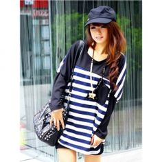 $7.78 Gamiss® Chic Street Style Stripes Pattern Loose Batwing T-Shirt For Women