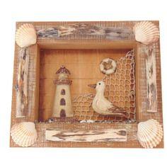 Tableau marin cadre en bois flotté et coquillages - création unique