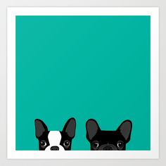 Boston Terrier and French Bulldog Art Print by Anne Was Here | Society6