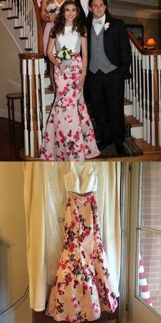 Two Piece Mermaid Jewel Pearl Pink Floral Satin Prom Dress Reina Bridal Floral Prom Dresses, Prom Dresses 2017, Summer Dresses, 19 Days, Dress For You, Dress Making, Evening Dresses, Satin, Skirts