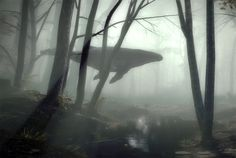 A humpback whale... in the forest.