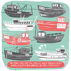Alice Pattullo, Illustration, boat, fishing, design, drawing, art, print, lino, ship, sea, nautical, coast, printmaking