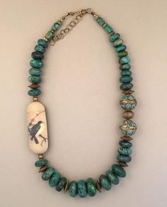 """Art Bead: Detail from Chinese Ceramic Plate Beads: Arizona Turquoise, Afghan Mixed Metal Beads, Brass Dimensions: 22"""" + 2.5"""" extender"""