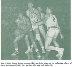 UCLA-Oregon basketball game 1951 at McArthur Court. From the 1951 Oregana (University of Oregon yearbook). www.CampusAttic.com
