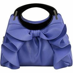 """Big blue flower ruffled handbag  purse  with strap Faux leather Man-made Synthetic PU Leather and High Quality Fabric Lined Interior Dual Carrying Oval Shaped Silver-Toned Handles Comes with an additional attachable, adjustable belt Huge and attractive Bow knot ruffle design (Front) Approximate Dimensions: Exterior - 13.3."""" L X 9"""" W X 5.5"""" H; Shoulder Drop: 23"""" Bags"""