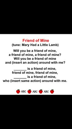 """Friend of Mine"" song... Perfect for back to school or friendship units."