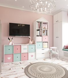 Room for a little princess on Behance Girls Room Design, Kids Bedroom Designs, Nursery Design, Little Girl Bedrooms, Girls Bedroom, Little Girls Playroom, Girl Rooms, Kids Room, Baby Room Decor