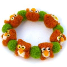 Cute Owl bracelet - Wool felt bracelet - Bracelet with Owls - Spring bracelet - Wool jewelry