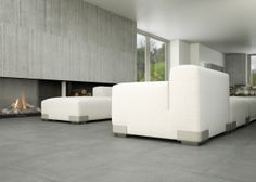 Porcelain stoneware wall/floor tiles with concrete effect CEMENTO by Casalgrande Padana Best Floor Tiles, Wall And Floor Tiles, Wall Tiles, Cement Tiles, Porcelain Tiles, Outdoor Flooring, Living Room Flooring, Living Room Inspiration, Home Remodeling
