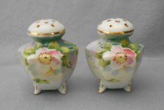 Antique Nippon Salt and Pepper Shakers with Roses