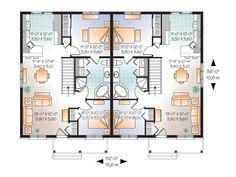 FOTO: thehouseplanshop.com Unique House Plans, Duplex Plans, One Bed, Best Investments, Building Plans, Open Concept, Floor Plans, Real Estate, Flooring