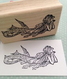 Small Daydreaming Mermaid Wood Mounted Rubber by 100ProofPress