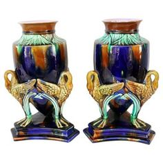 Check out this item at One Kings Lane! Large Antique Majolica Urns, Pair