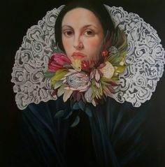 Fynbos & Lace is an oil painting which is symbolic of the heritage of some European descendant South African culture.