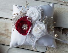 Wedding ring pillows in red and white by SweetsOfLife4 on Etsy