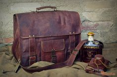 Leather Briefcase 16 / Vintage Leather Messenger Bag by EpicLinen, $79.00