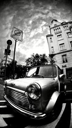 Vintage Mini Cooper black  white wallpaper - mobile9