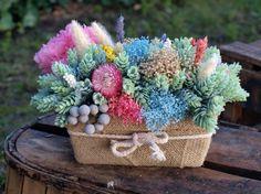 Centro de flores secas, mezcla de flores secas, artificiales y preservadas