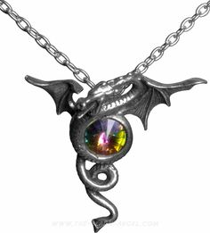 Anguis Aeternus necklace pendant, dragon shaped with large crystal, by Alchemy Gothic.