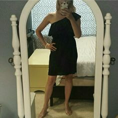 Black one shoulder dress Pleated detail.  Would be extra cute with a belt but adorable without. Polyester. Soprano Dresses One Shoulder