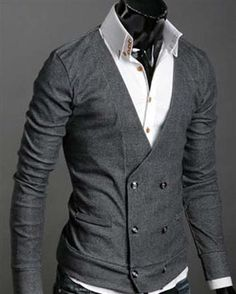 Double Breasted Long cardigans for men Sweater