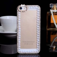 New  Luxury Case Cover  Pearl Frame  Crystal phone Case for iPhone 4/ 4S/5 /5S /5C Cellphone accessories  free shipping $8.30