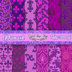 Digital Paper Pack Purple FleurDeLis (paper crafts, card making, scrapbooking) 12 pcs by DigitalMagicShop, $2.50