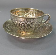 Silver Tea Cup & Saucer. China Cups And Saucers, Teapots And Cups, Teacups, Antique Tea Cups, Vintage Cups, Tea Cup Set, Tea Cup Saucer, Cuppa Tea, Cool Mugs