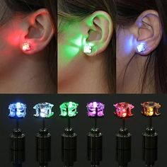Buy Unique boys girls LED Light Christmas Gift Halloween Party Square Night Bling Studs Earrings fashion jewelry at Wish - Shopping Made Fun Tiny Stud Earrings, Square Earrings, Clip On Earrings, Gold Earrings, Glow In Dark Party, Fashion Earrings, Fashion Jewelry, Neon Birthday, Led Christmas Lights