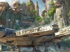 El arte muestra a una nave de ala X, al Millennium Falcon y algunos edificios en lo que parece ser el área dedicada a 'Star Wars' en los parques Disney de Anaheim y Orlando.