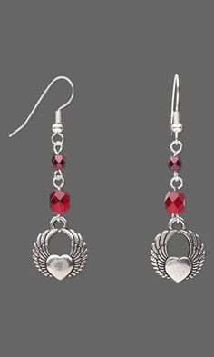 Earrings with Antiqued Silver-Finished Pewter Charms and Czech Fire-Polished Glass Beads