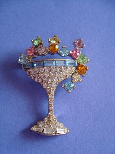 Vintage Pell Champagne Glass Brooch with by Lavendergems on Etsy