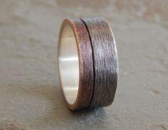 MOONLIGHT Silver & Copper 6-9mm // Men's Wedding Ring //