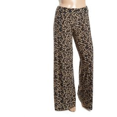 GLAM Black & Tan Damask Palazzo Pants (94 SAR) ❤ liked on Polyvore featuring plus size women's fashion, plus size clothing, plus size pants, plus size, black palazzo pants, plus size black trousers, womens plus size pants, palazzo trousers and tan trousers