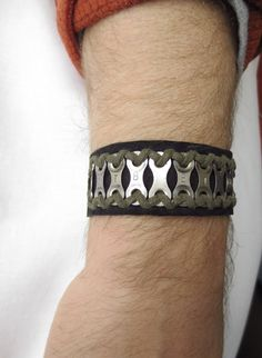 Personalized Bicycle Chain Bracelet, Recycled Bicycle Jewelry, Leather Cuff, Sports Jewelry, Bicycle Jewelry. $42.00, via Etsy.
