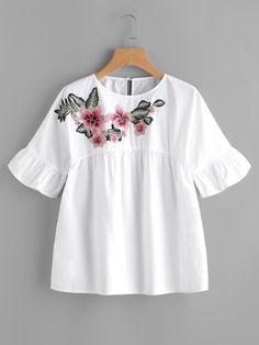 Embroidered Flower Embellished Ruffle Sleeve Babydoll TopFor Women-romwe