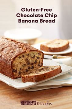 This Gluten-Free Hershey's Chocolate Chip Banana Bread is easy and perfect for moms on the go or a quick morning meal. Made with fresh bananas and HERSHEY'S Kitchens Semi-Sweet Mini Chocolate Chips, this banana bread goes great with a cup of coffee on a cold winter morning.