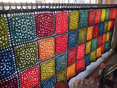 colorful crochet curtain.