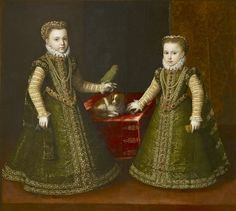 Infantas Isabella Clara Eugenia and Catalina Micaela of Spain by Studio Alonso Sanchez Coello , c.1569-70