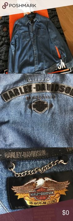Not for sale Harley Davidson denim shirt Harley Davidson denim shirt has been worn but yet in excellent condition no rips tears stains  pet free and smoke free home made by Harley Davidson Tops Button Down Shirts
