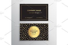 Set of vector business card templates with gold dots brush stroke background.. Illustrations